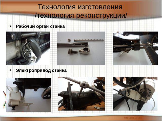 Технология изготовления /технология реконструкции/ Рабочий орган станка Элект...