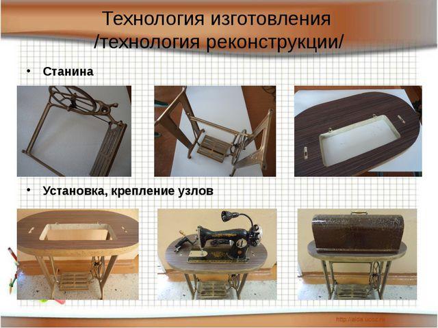 Технология изготовления /технология реконструкции/ Станина Установка, креплен...