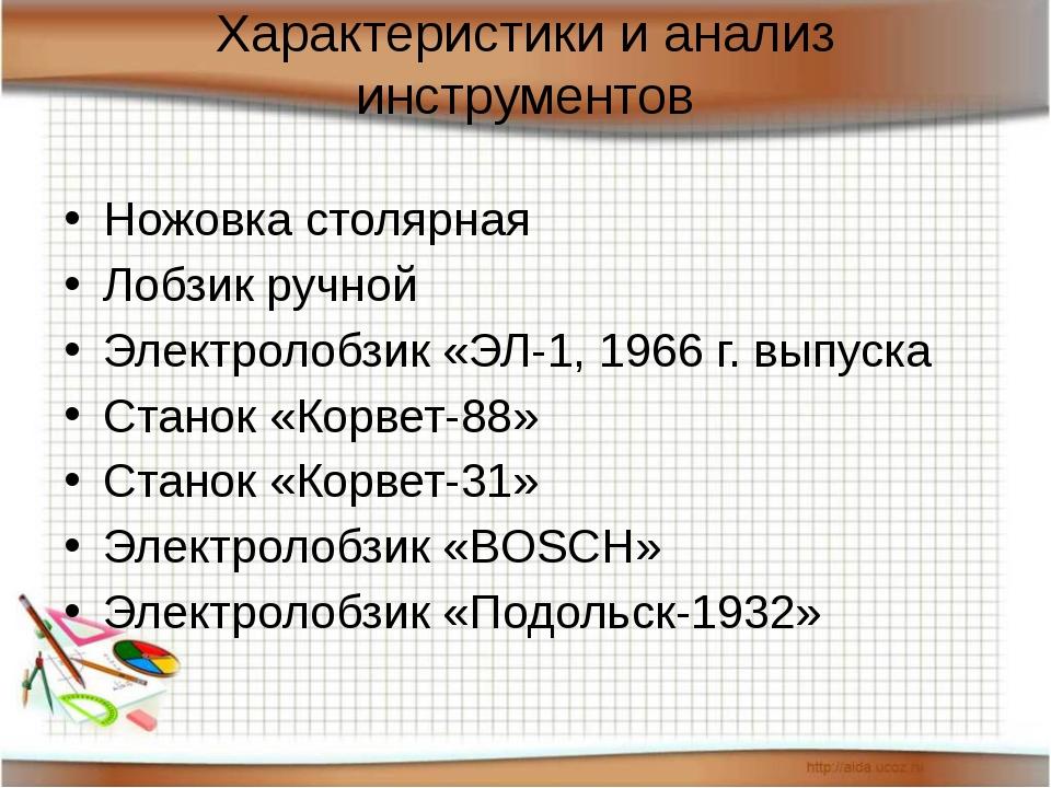 Характеристики и анализ инструментов Ножовка столярная Лобзик ручной Электрол...