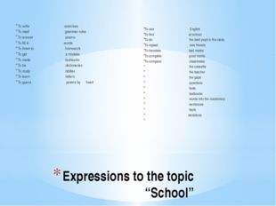 "Expressions to the topic ""School"" To write exercises To read grammar rules To"