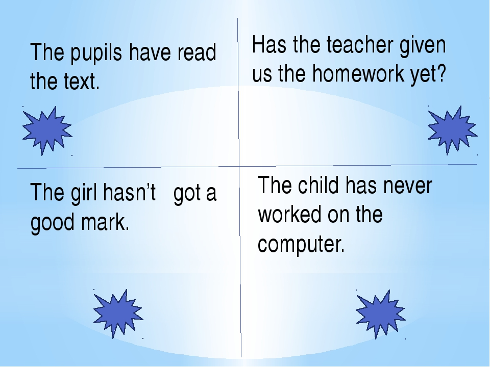 The pupils have read the text. Has the teacher given us the homework yet? The...