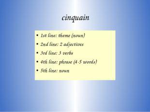 cinquain 1st line: theme (noun) 2nd line: 2 adjectives 3rd line: 3 verbs 4th