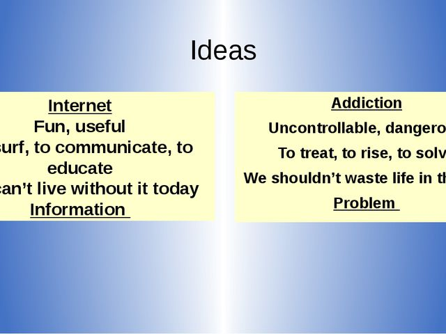 Ideas Addiction Uncontrollable, dangerous To treat, to rise, to solve We shou...