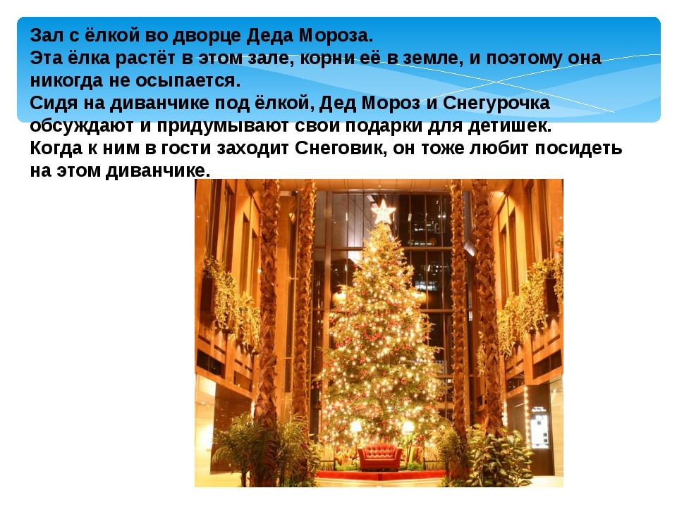 Зал с ёлкой во дворце Деда Мороза. Эта ёлка растёт в этом зале, корни её в з...