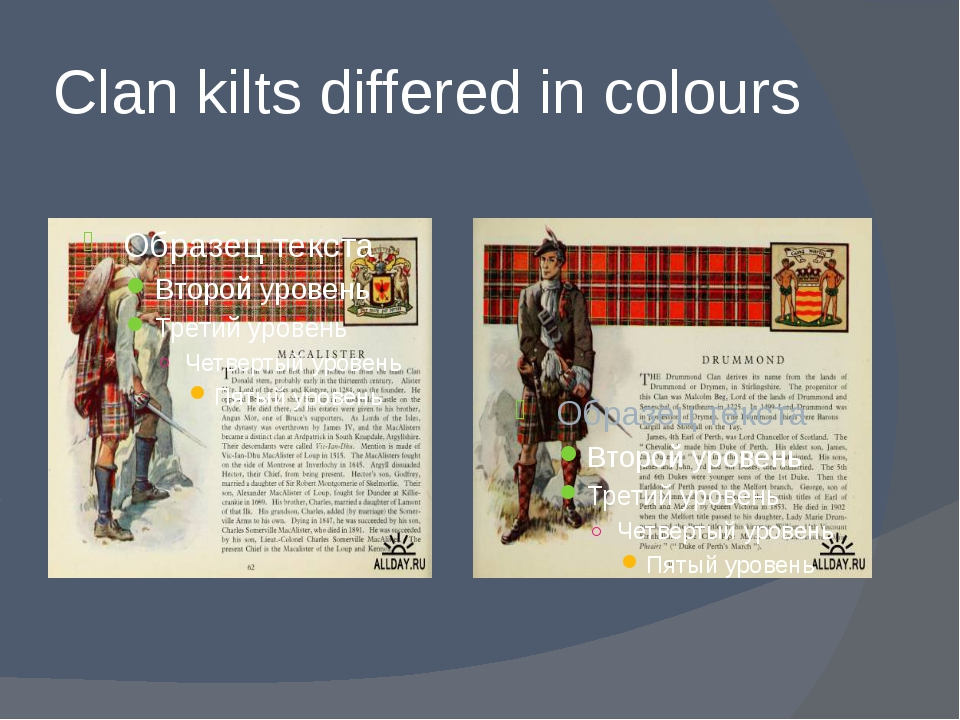 Clan kilts differed in colours