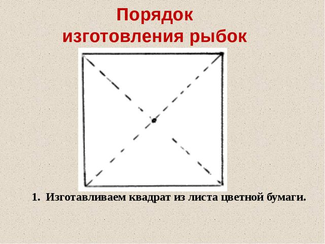 Порядок изготовления рыбок 1. Изготавливаем квадрат из листа цветной бумаги.