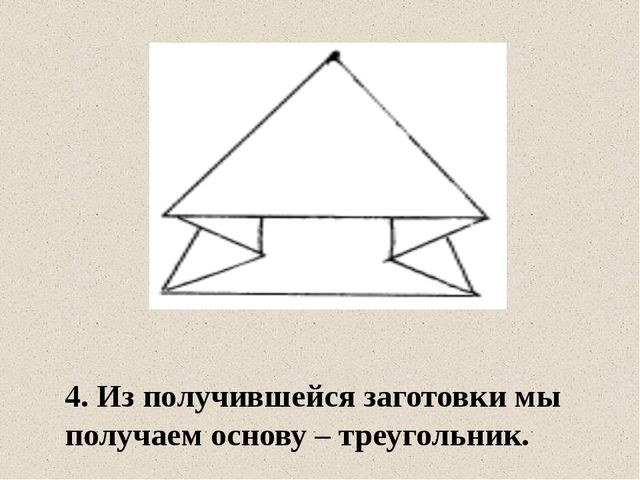 4. Из получившейся заготовки мы получаем основу – треугольник.