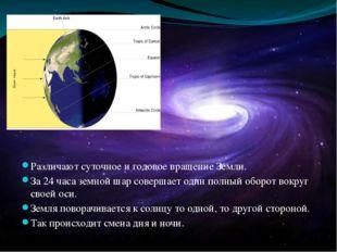 Различают суточное и годовое вращение Земли. За 24 часа земной шар совершает