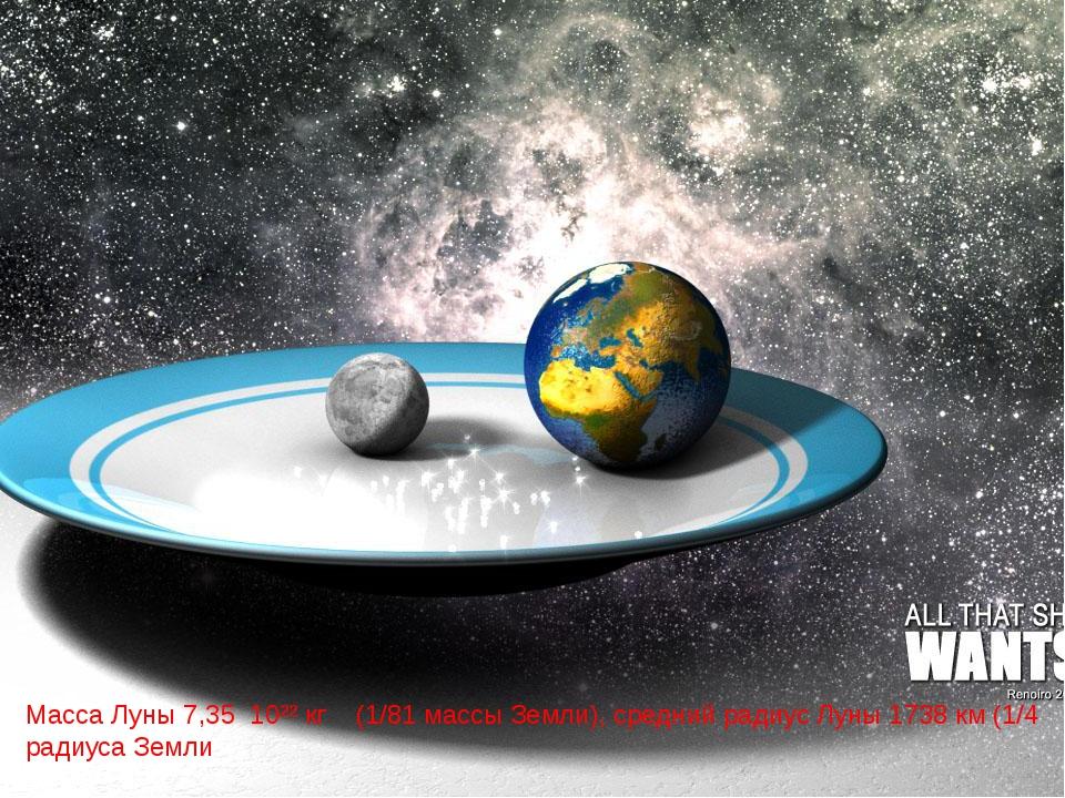Масса Луны 7,35 10²² кг (1/81 массы Земли), средний радиус Луны 1738 км (1/4...