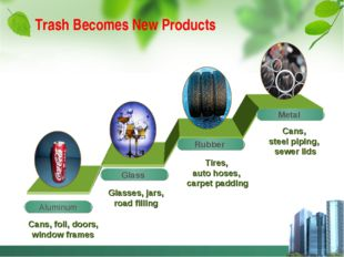 Trash Becomes New Products Glasses, jars, road filling Tires, auto hoses, car