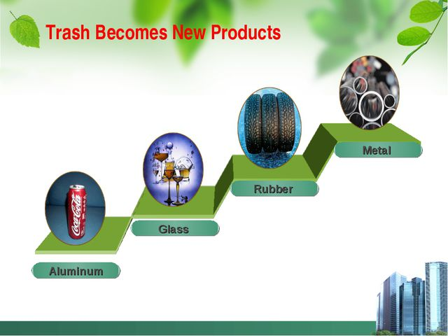 Trash Becomes New Products Glass Rubber Metal