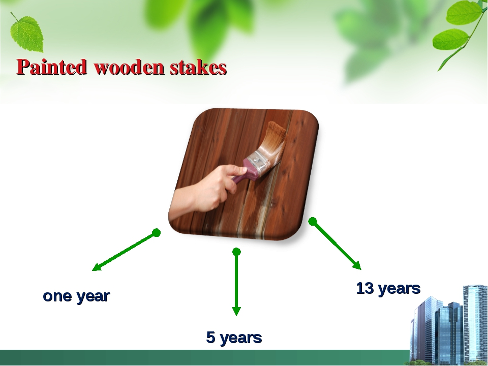 Painted wooden stakes one year 5 years 13 years
