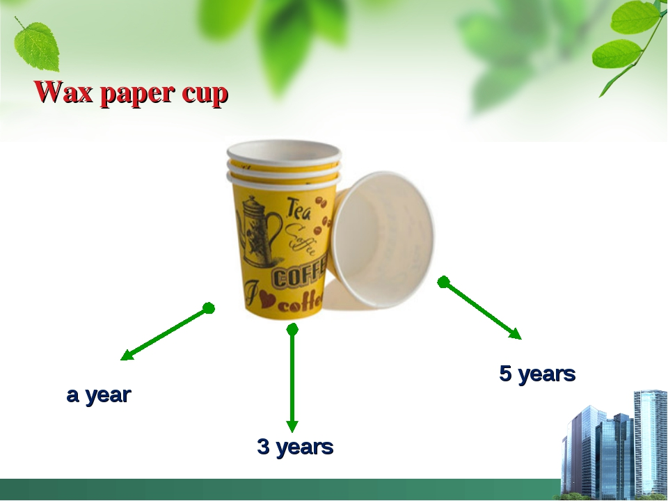 Wax paper cup a year 3 years 5 years