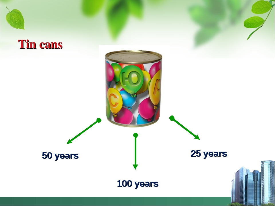 Tin cans 50 years 100 years 25 years