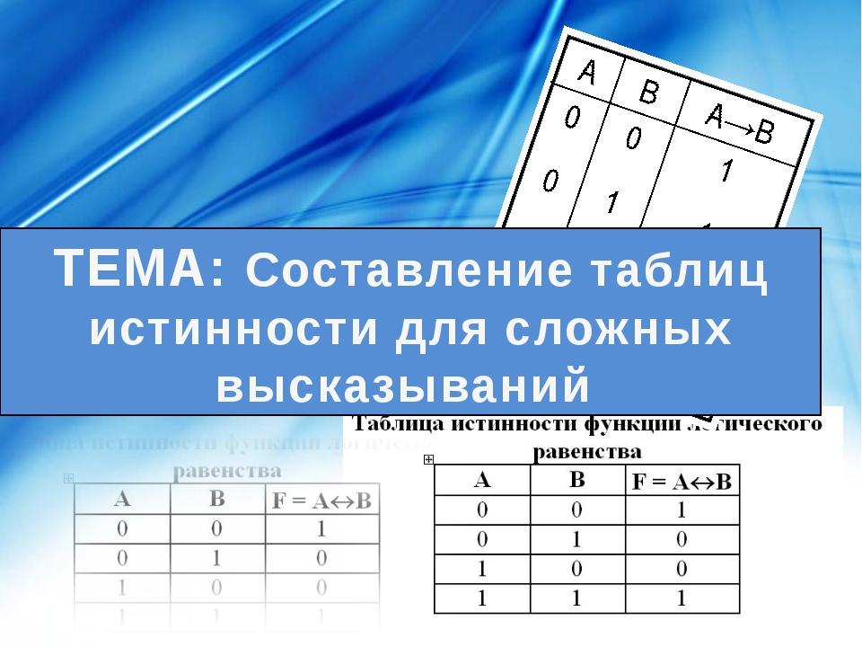 ТЕМА: Составление таблиц истинности для сложных высказываний