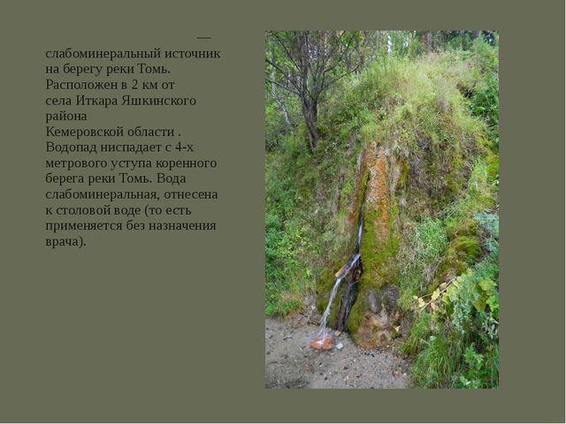 Иткари́нский водопад— слабоминеральный источник на берегу рекиТомь. Располо...