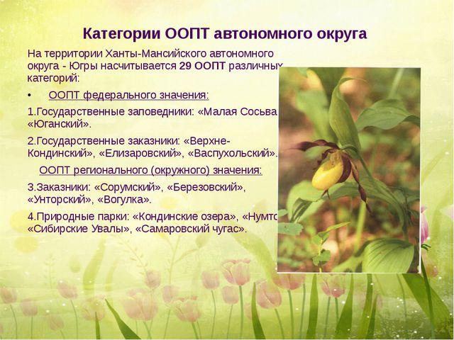 Категории ООПТ автономного округа На территории Ханты-Мансийского автономного...