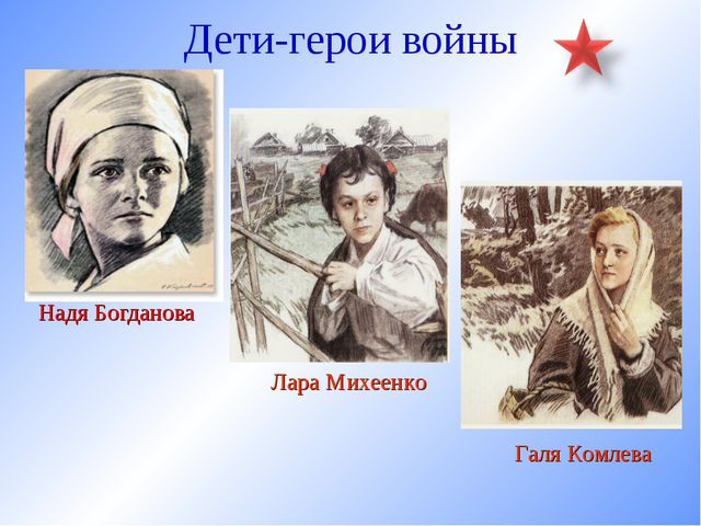 Дети-герои войны Надя Богданова Лара Михеенко Галя Комлева