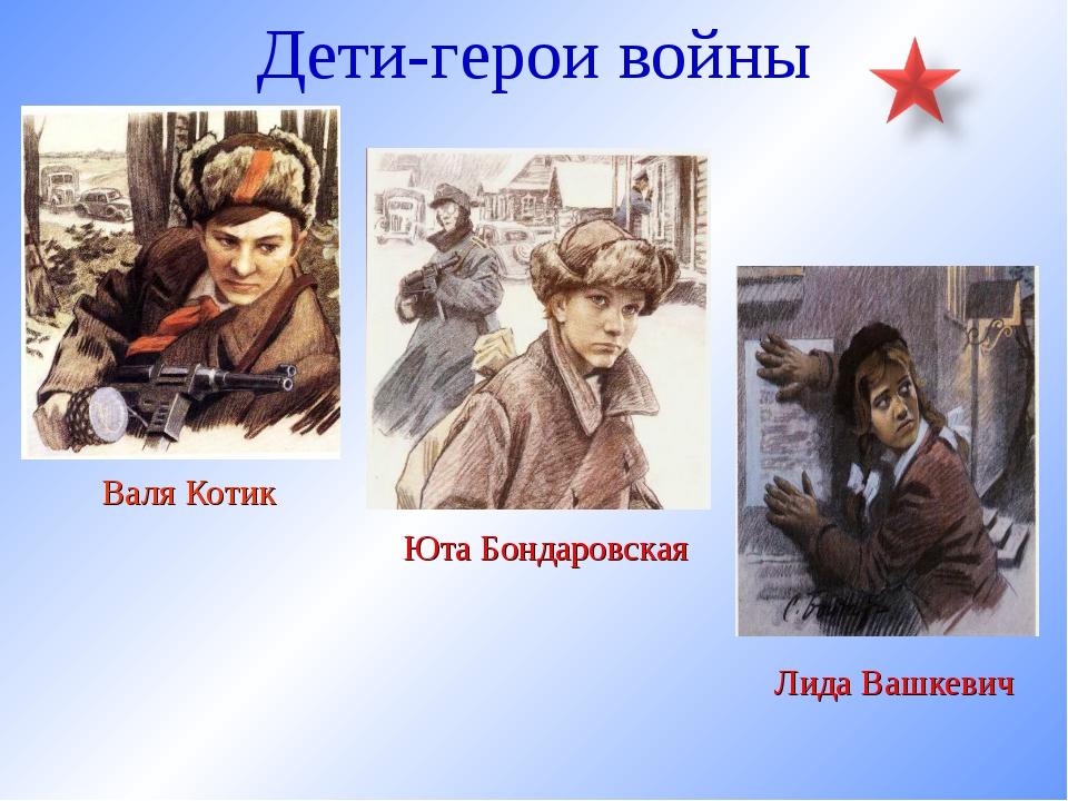 Дети-герои войны Валя Котик Юта Бондаровская Лида Вашкевич