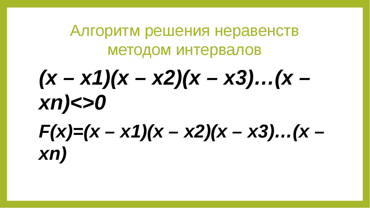 Алгоритм решения неравенств методом интервалов (x – x1)(x – x2)(x – x3)…(x –...