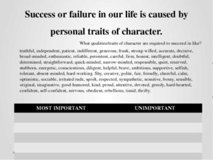 Success or failure in our life is caused by personal traits of character. Wha