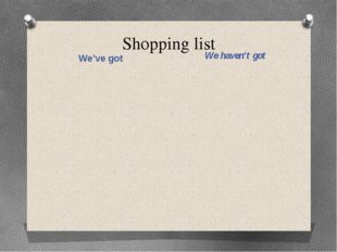 Shopping list We've got We haven't got
