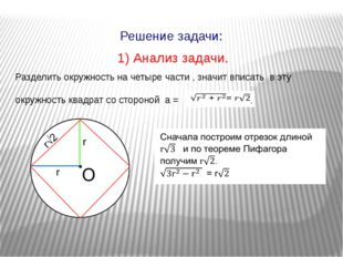 1) Анализ задачи. Разделить окружность на четыре части , значит вписать в эту