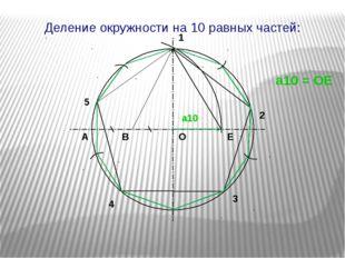 1 2 3 4 О А В Е 5 а10 = ОЕ а10 Деление окружности на 10 равных частей: