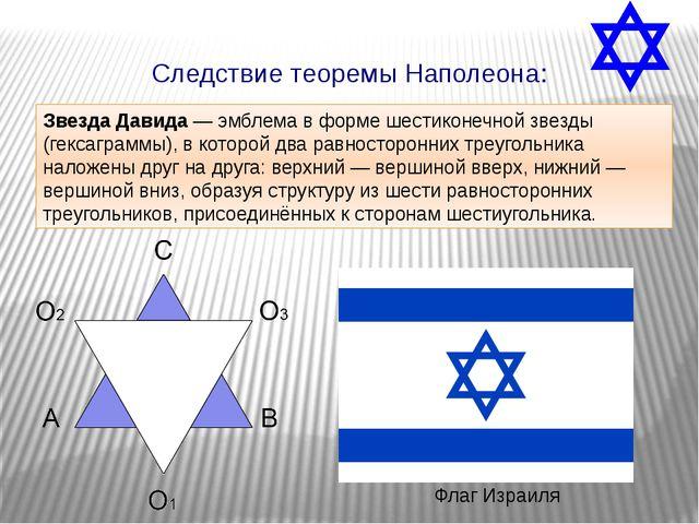 Флаг Израиля Следствие теоремы Наполеона: Звезда Давида — эмблема в форме шес...