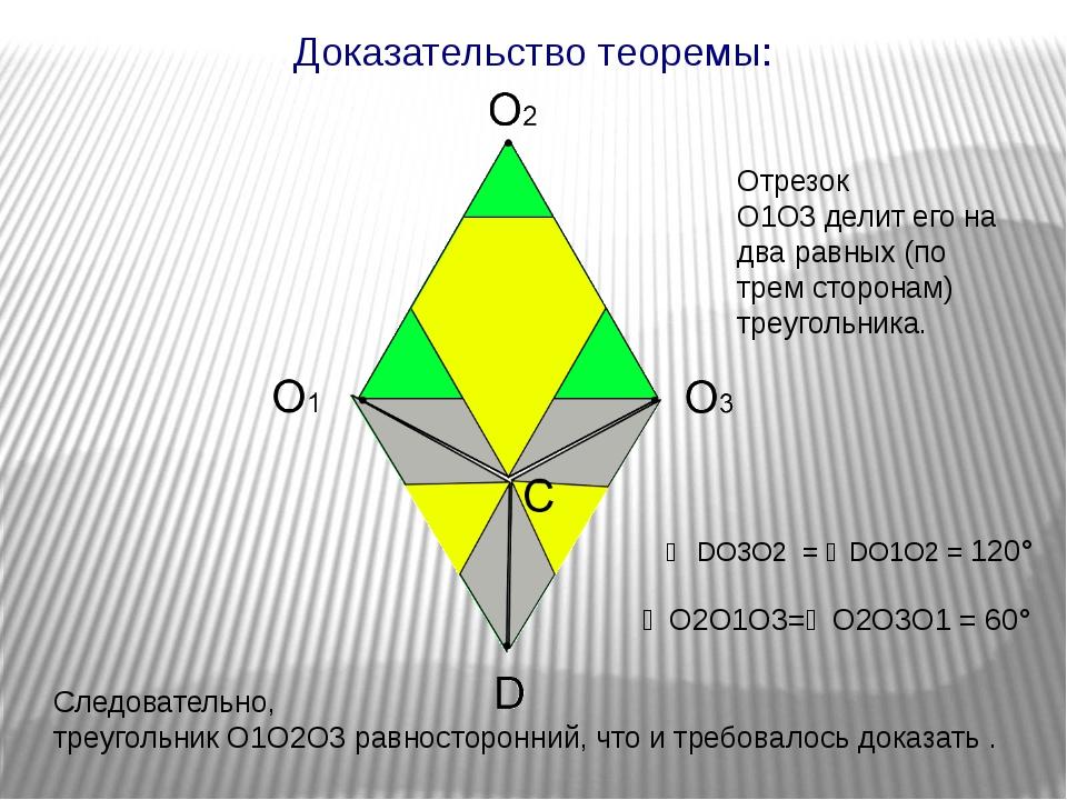 Доказательство теоремы: Следовательно, треугольник O1O2O3равносторонний, чт...