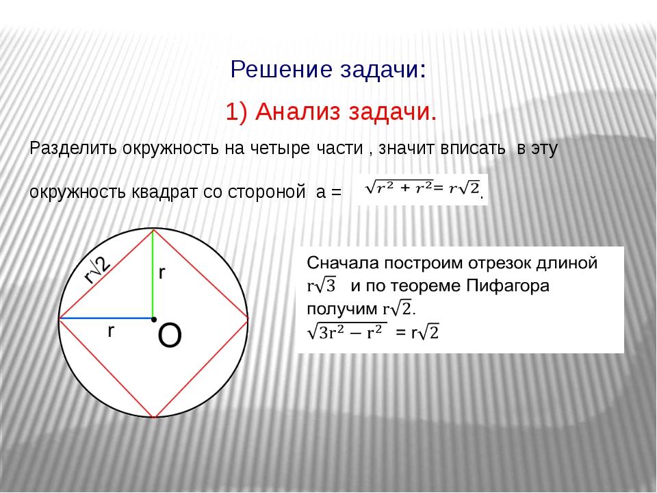 1) Анализ задачи. Разделить окружность на четыре части , значит вписать в эту...