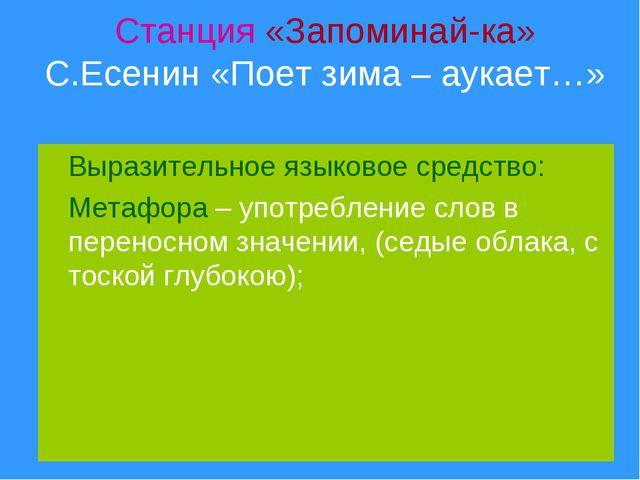 Станция «Запоминай-ка» С.Есенин «Поет зима – аукает…» Выразительное языковое...