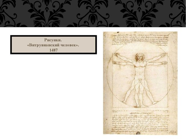 Рисунки. «Витрувианский человек». 1487
