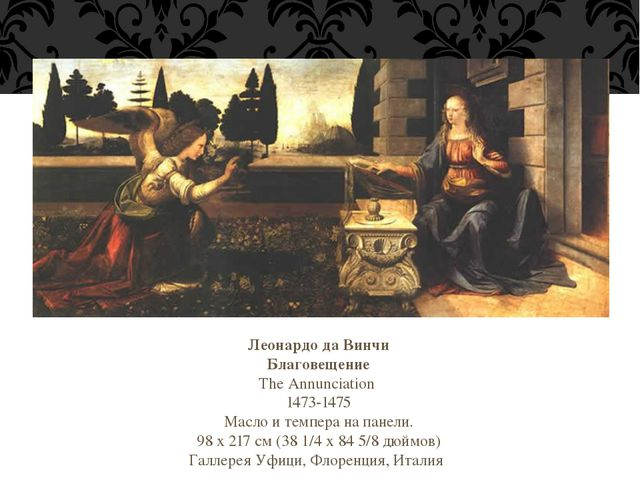 Леонардо да Винчи Благовещение The Annunciation 1473-1475 Масло и темпера на...