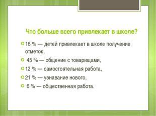 Что больше всего привлекает в школе? 16 % — детей привлекает в школе получени