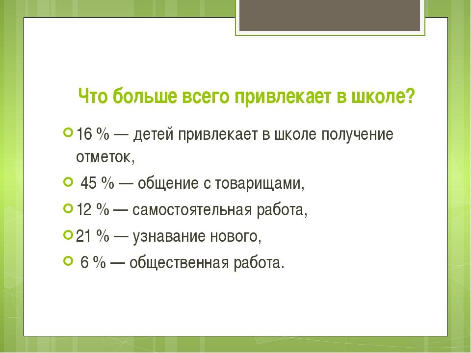 Что больше всего привлекает в школе? 16 % — детей привлекает в школе получени...