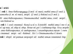 Жауап үлгісі: III деңгей 1. Ата-бабаларымыз (1жақ көпше), табиғаты (3 жақ), О