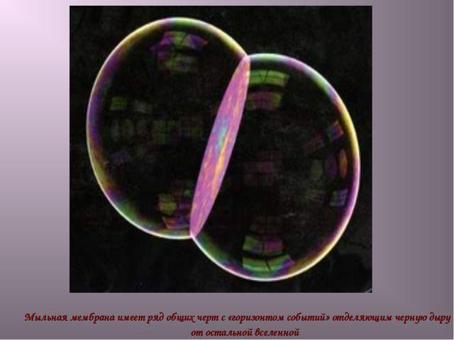 Мыльная мембрана имеет ряд общих черт с «горизонтом событий» отделяющим черну...