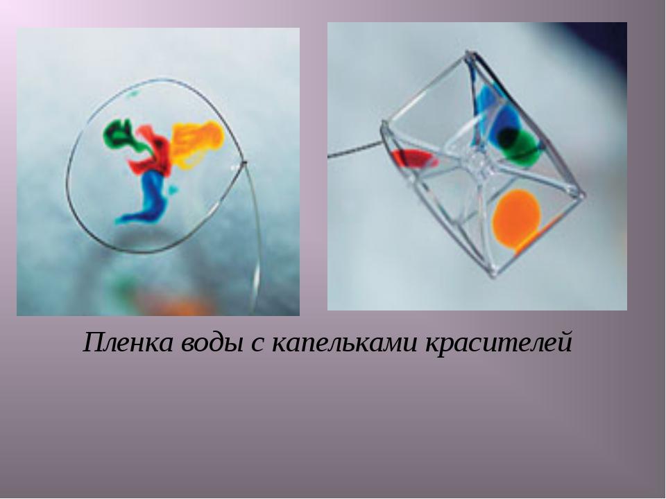 Пленка воды с капельками красителей