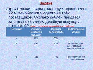 Задача Строительная фирма планирует приобрести 72 м2 пеноблоков у одного из т