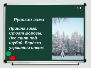Русская зима Пришла зима. Стоят морозы. Лес спит под шубой. Берёзки украшены