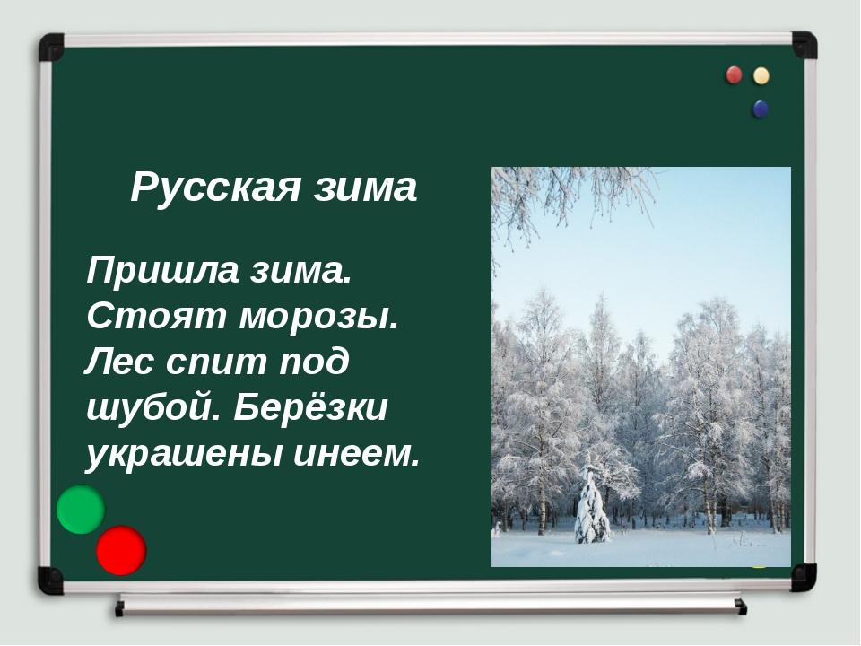 Русская зима Пришла зима. Стоят морозы. Лес спит под шубой. Берёзки украшены...
