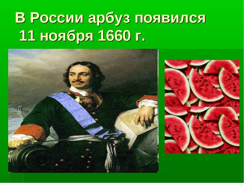 В России арбуз появился 11 ноября 1660 г.