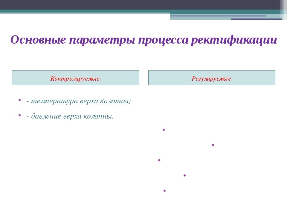 Основные параметры процесса ректификации Контролируемые: Регулируемые: - темп...
