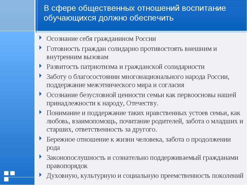 Осознание себя гражданином России Готовность граждан солидарно противостоять...