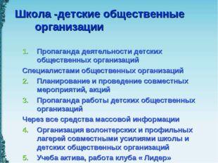 Школа -детские общественные организации Пропаганда деятельности детских общес