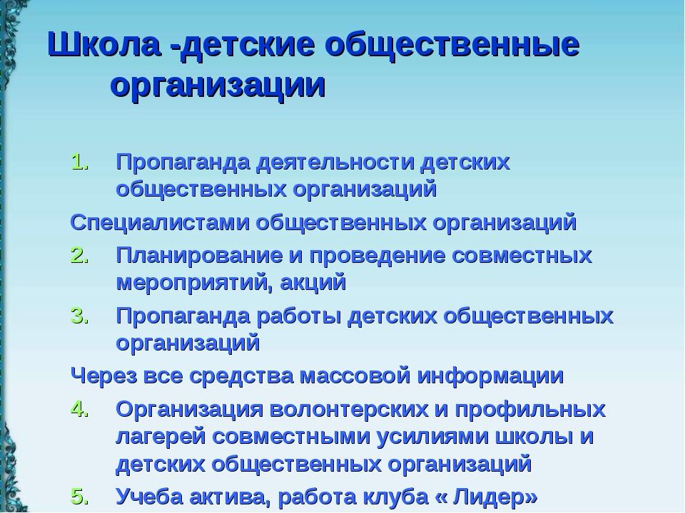 Школа -детские общественные организации Пропаганда деятельности детских общес...