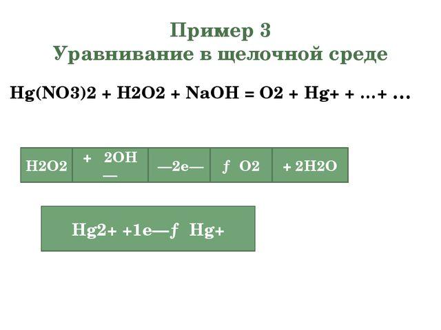 Пример 3 Уравнивание в щелочной среде Hg(NO3)2+ H2O2+ NaOH = O2+ Hg+ + …+...