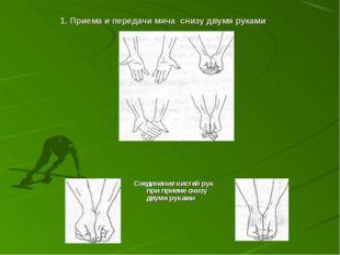 1. Приема и передачи мяча снизу двумя руками Соединение кистей рук при приеме