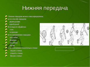 Нижняя передача Нижние передачи можно классифицировать: а) по способу передач